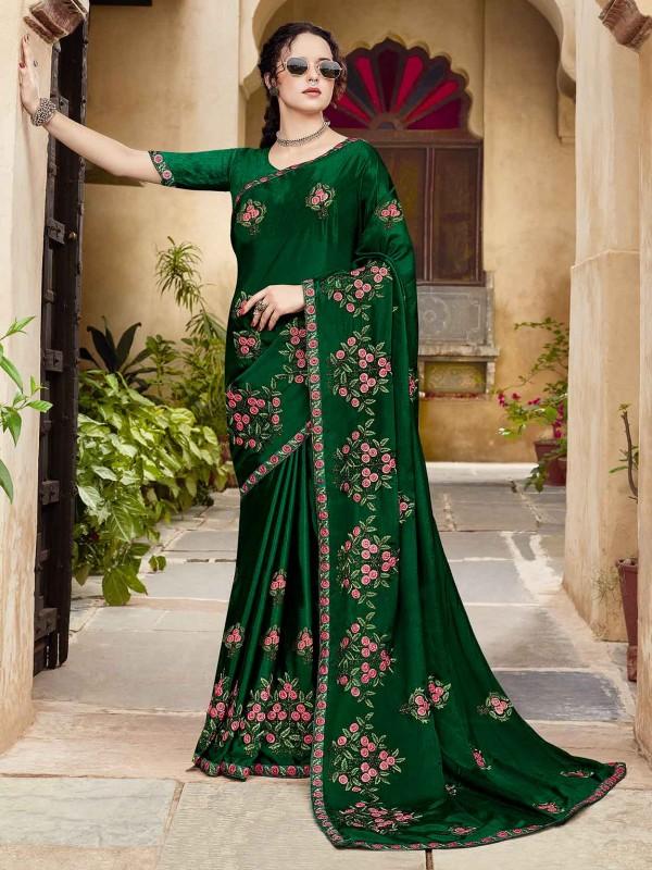 Dark Green Silk Fabric Embroidered Saree.