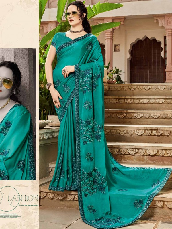 Green Colour Silk Designer Sari.