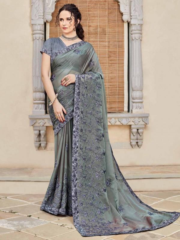 Silk Designer Sari in Grey Colour.