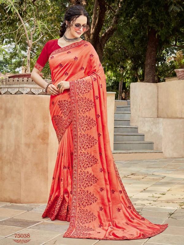 Rust Colour Silk Designer Women Saree.