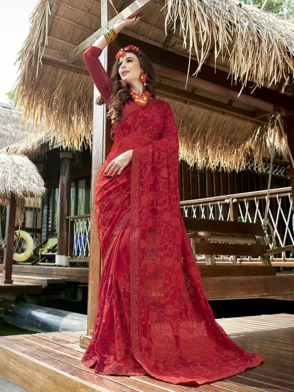 Red Colour Georgette Designer Saree.