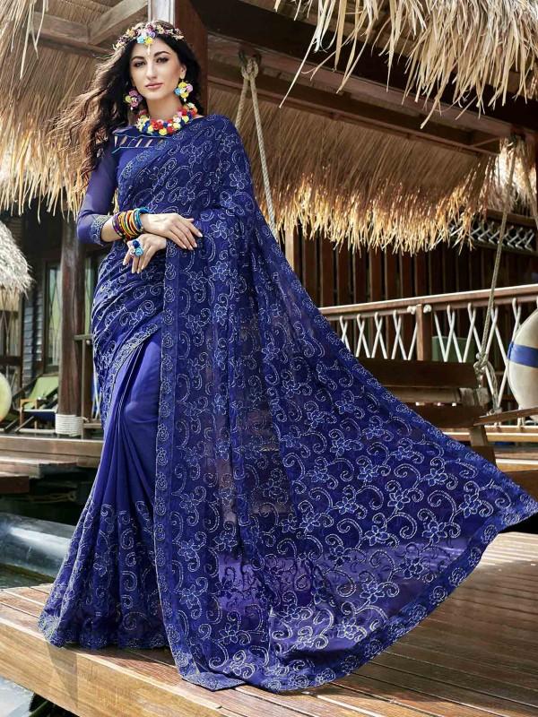 Blue Colour Georgette Fabric Party Wear Saree.