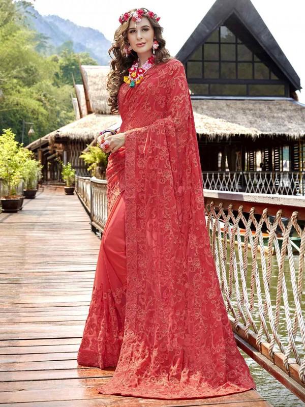 Red,Pink Colour Georgette Designer Sari.