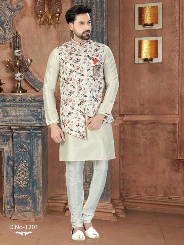 Off White,Cream Colour Silk Designer Kurta Pajama Jacket.
