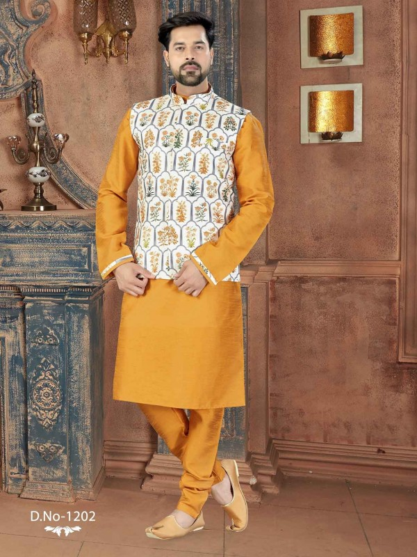 Traditional Kurta Pajama Off White,Yellow Colour.