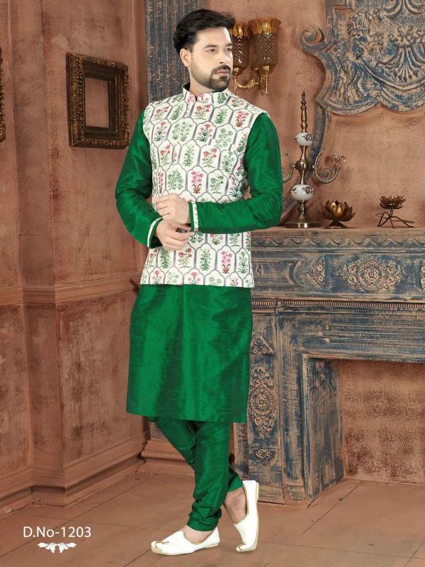 Green,Off White Silk Kurta Pajama Jacket.
