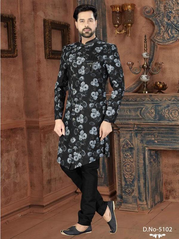 Black,White Designer Indowestern in Jacquard Fabric.