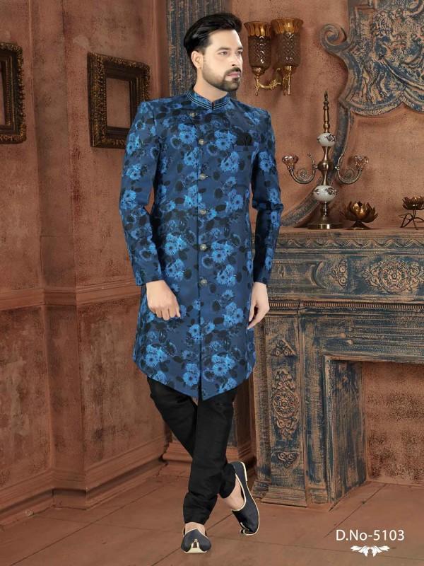 Blue,Black Colour Jacquard Men's Indowestern With Digital Print Work.