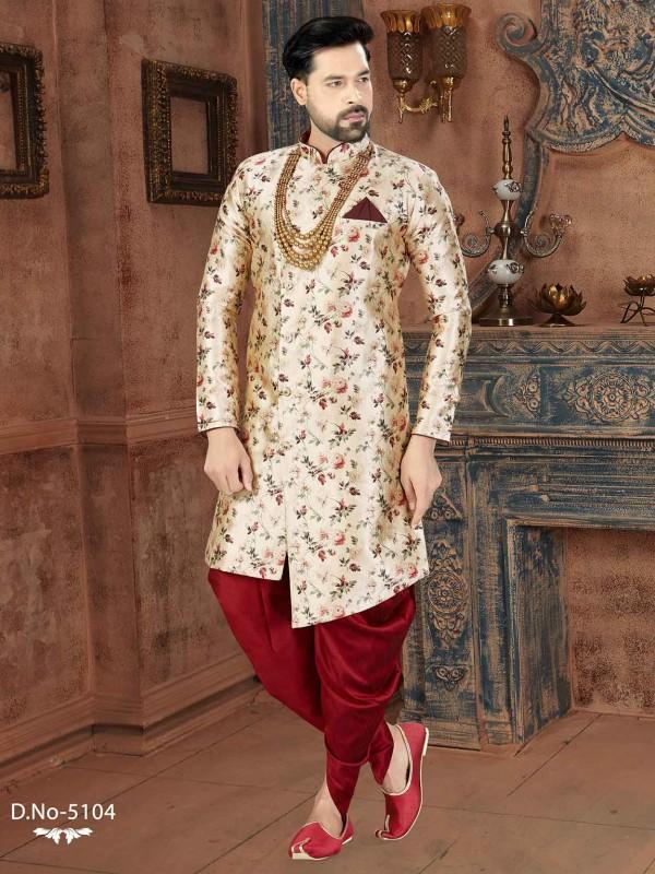 Cream,Maroon Party Wear Indowestern Silk Fabric.