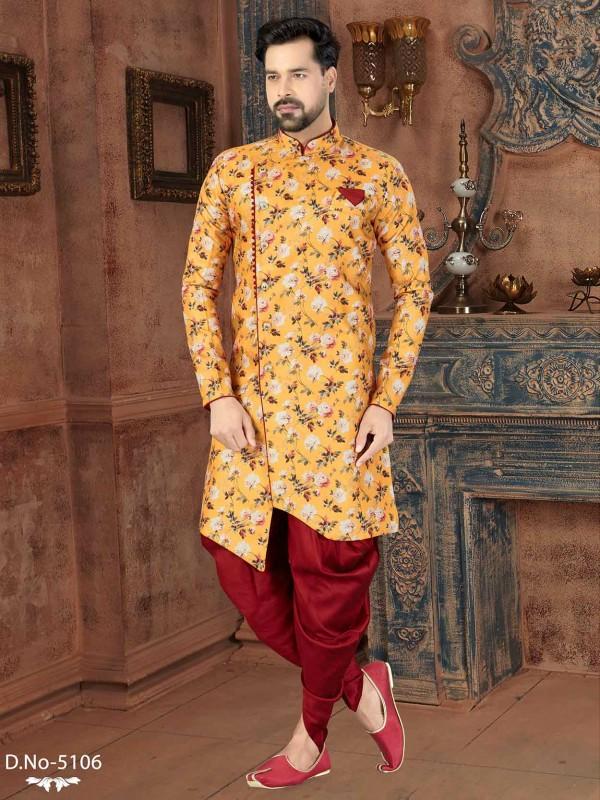 Designer Indowestern Yellow Colour in Jacquard Fabric.