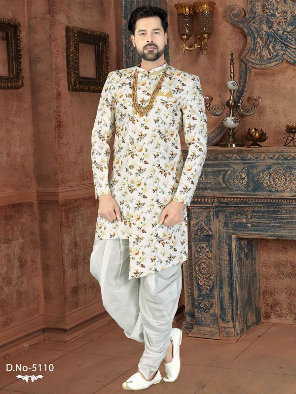 Off White Colour Jacquard Fabric Men's Indowestern With Digital Print Work.
