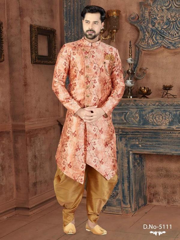 Peach Colour Silk Men's Indowestern.