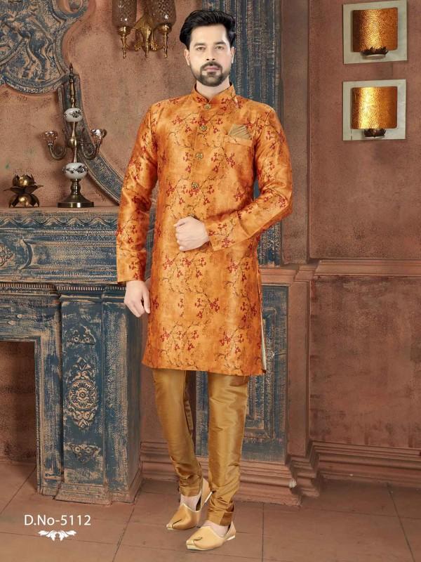 Golden Colour Silk Men's Indowestern With Digital Print Work.