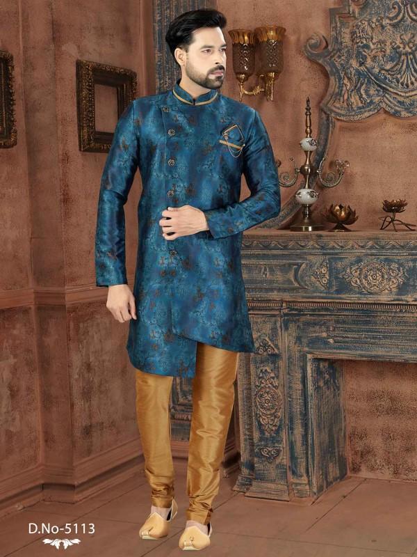 Blue Colour Silk Fabric Men's Indowestern With Digital Print Work.