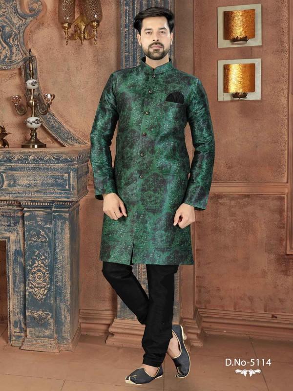 Green Colour Digital Print Men's Indowestern.