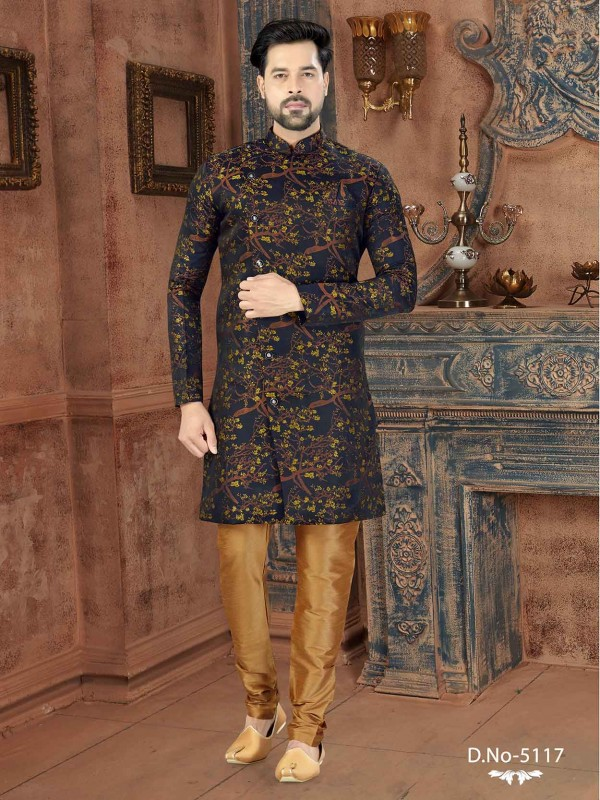 Blue Colour Jacquard Fabric Men's Indowestern With Thread Work.