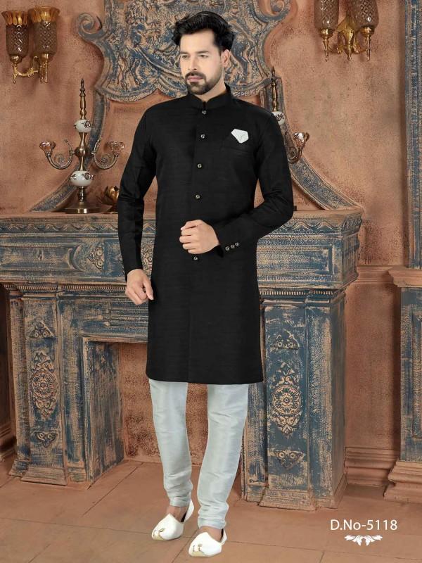 Black Colour Silk Men's Indowestern.