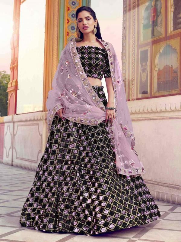 Black Colour Imported Fabric Designer Lehenga.
