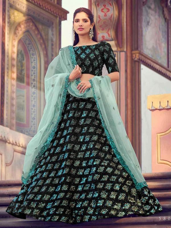 Black Imported Fabric Lehenga.