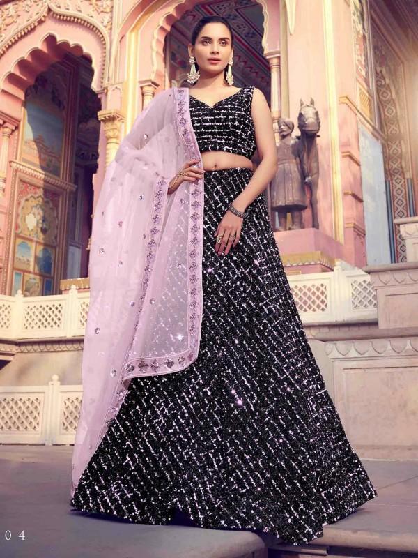 Women Lehenga Choli in Black Colour.