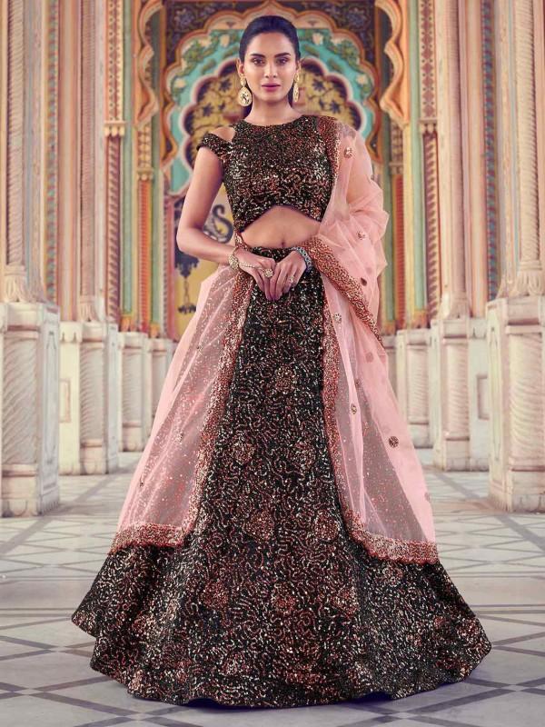 Designer Lehenga Choli Black Colour In Imported Fabric.
