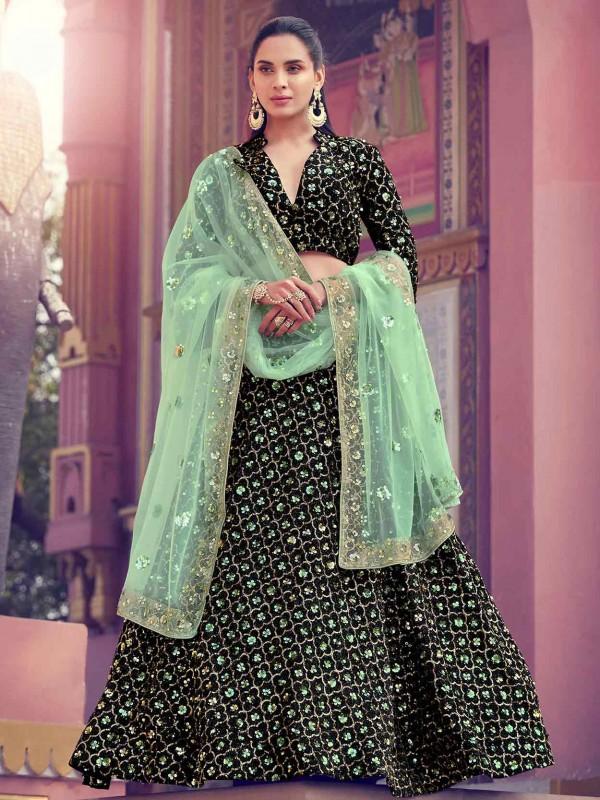 Imported Fabric Lehenga Choli in Black Colour.