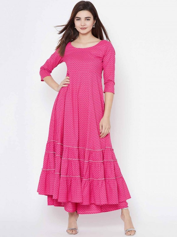 Anarkali Kurti Pink Colour Cotton Fabric.