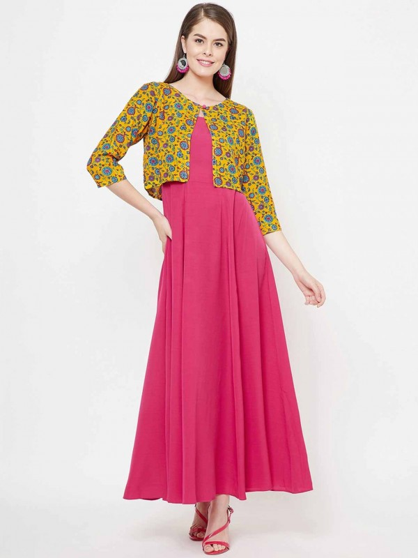 Pink,Yellow Colour Cotton Designer Kurti.