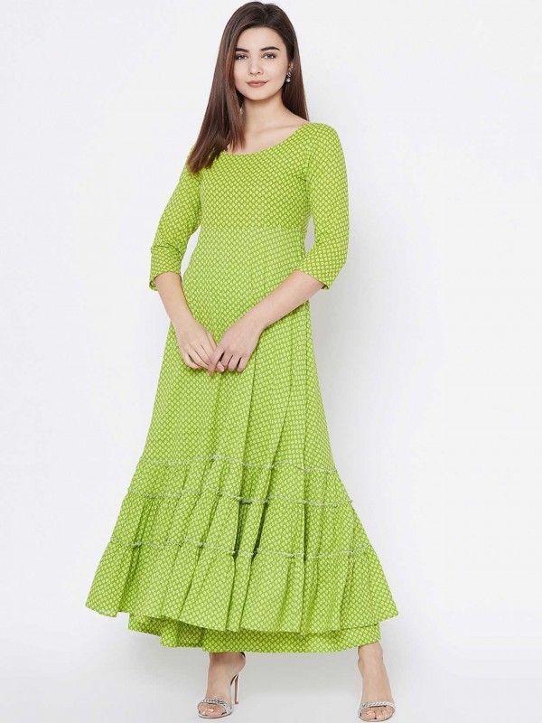 Green Colour Cotton Fabric Readymade Kurti.