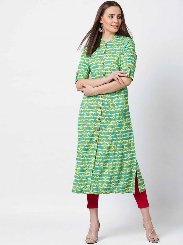 Cotton Readymade Kurti in Green Colour.