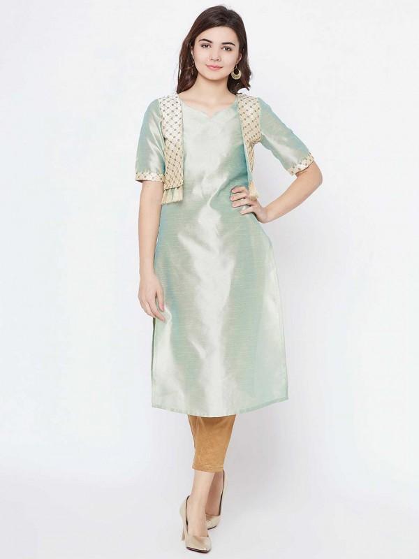 Sea Green Colour Cotton Straight Kurti.