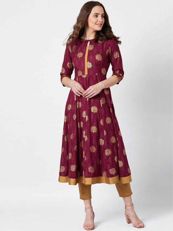 Maroon Colour Cotton Fabric Anarkali Kurti.