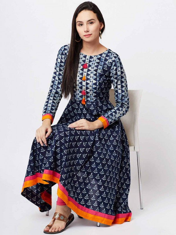 Navy Blue Colour Cotton Fabric Casual Kurti.