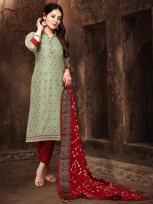 Green Colour Chanderi Silk Salwar Suit.