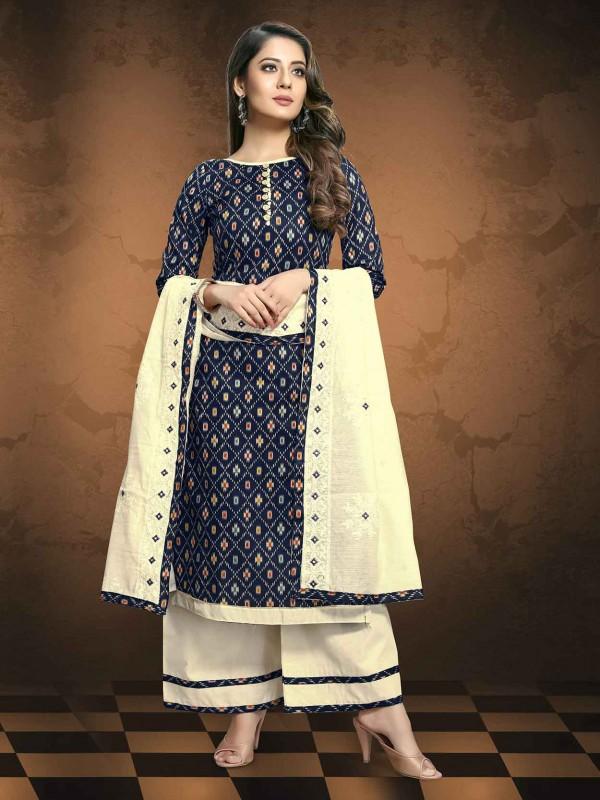 Printed Salwar Kameez in Blue Colour.