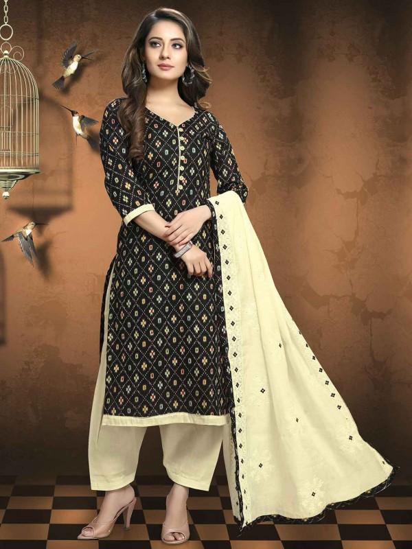 Black Colour Printed Salwar Suit.