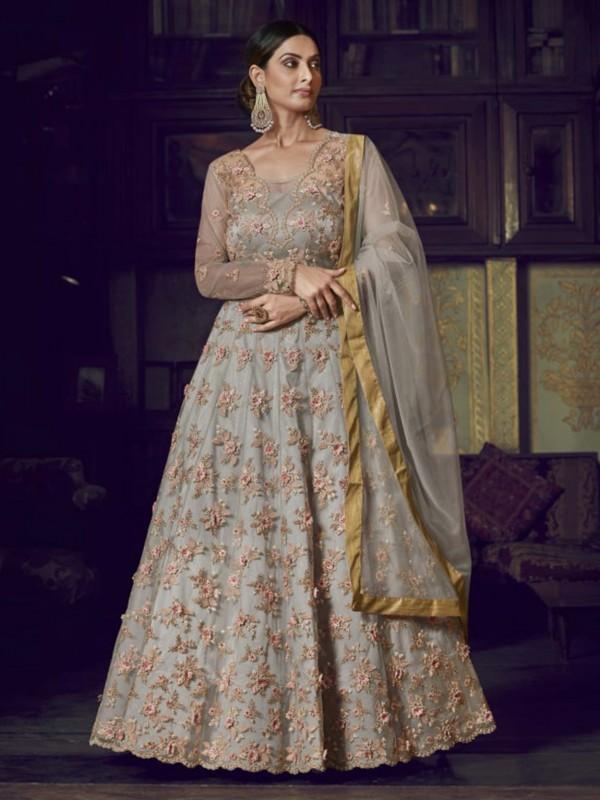 Grey Colour Net Designer Anarkali Salwar Kameez.