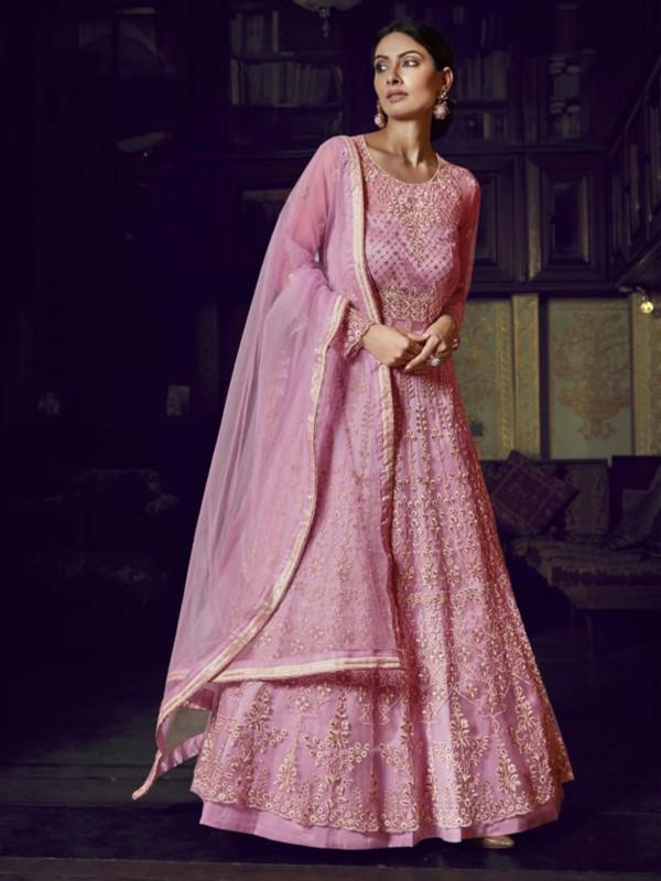 Net Designer Anarkali Salwar Suit in Pink,Colour.