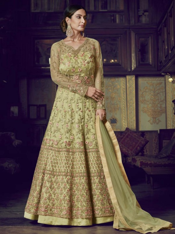 Green Colour Net Salwar Suit With Thread,Stone Work.