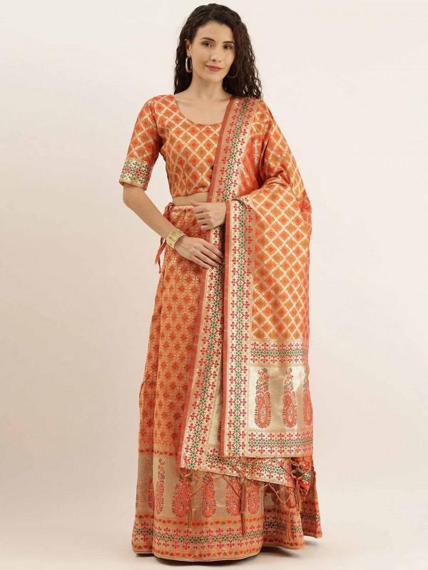 Orange Colour Art Silk Traditional Lehenga Choli.