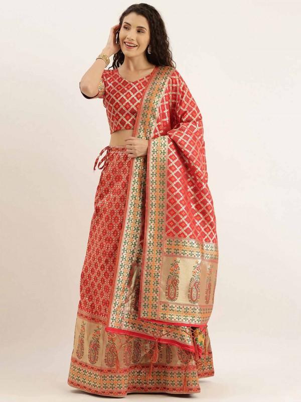 Patola Print Lehenga Choli in Art Silk With Red,Golden Colour.