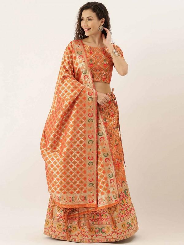 Orange Colour Art Silk Women Lehenga Choli.