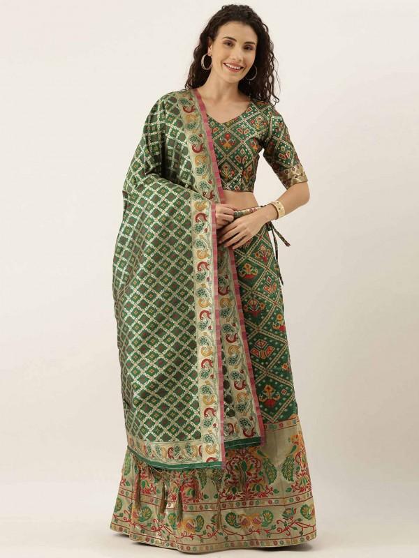 Green Colour Traditional Lehenga Choli in Art Silk Fabric.