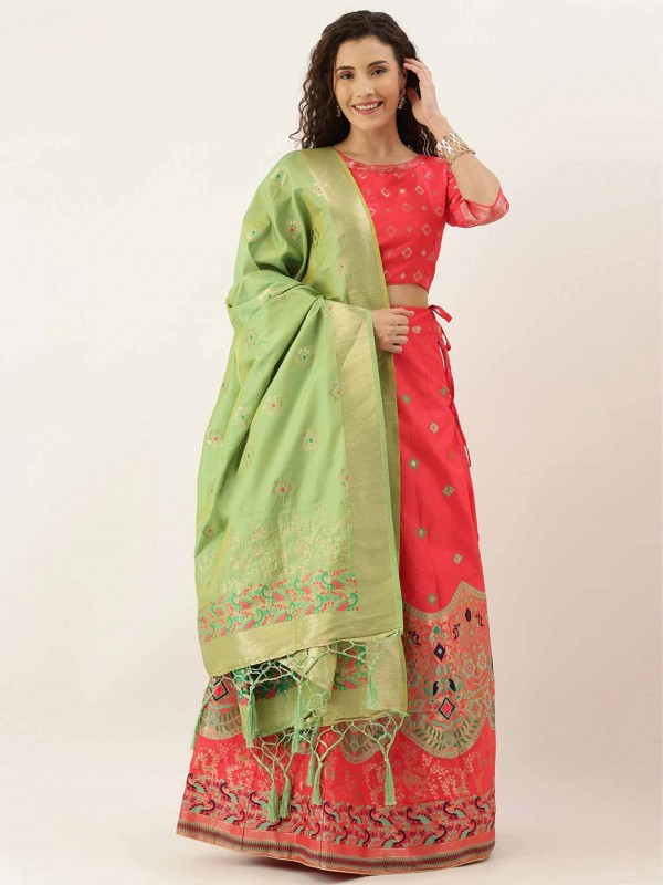 Pink Designer Lehenga Choli in Patola Print.