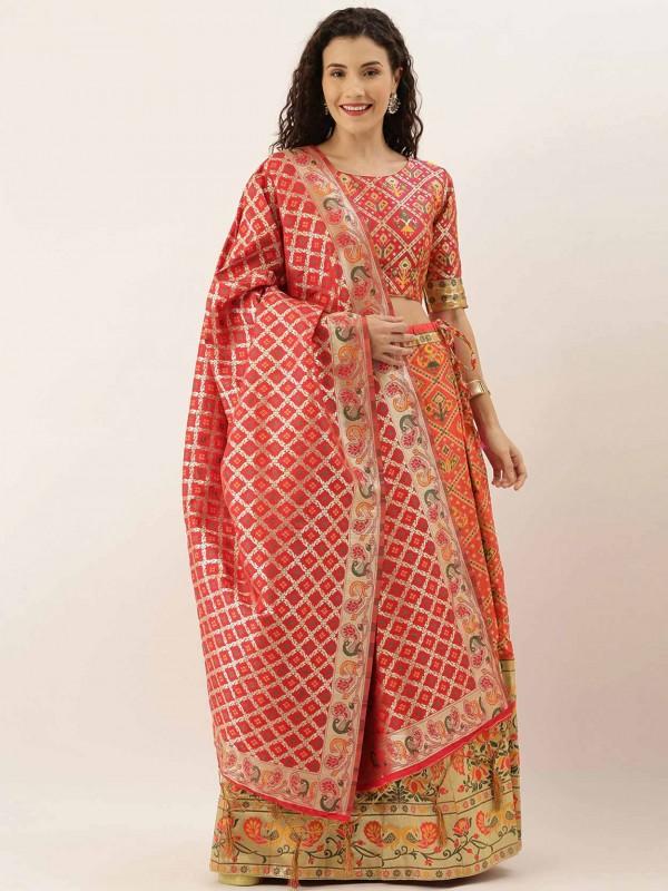Red,Golden Colour Art Silk Lehenga Choli in Patola Print Work.
