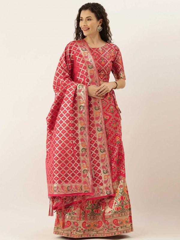 Pink Colour Indian Traditional Lehenga Choli.