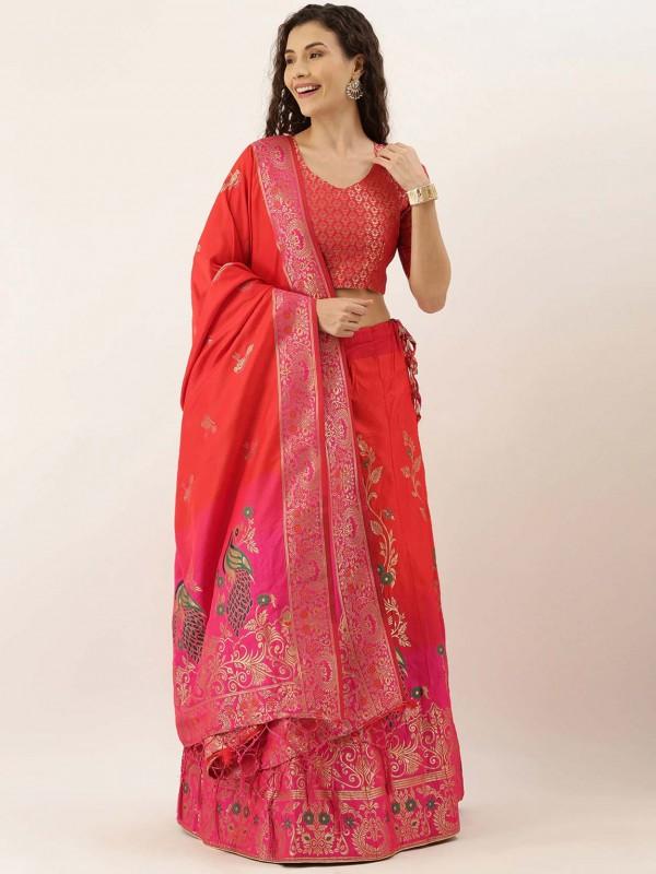 Red,Pink Colour Designer Lehenga Choli.