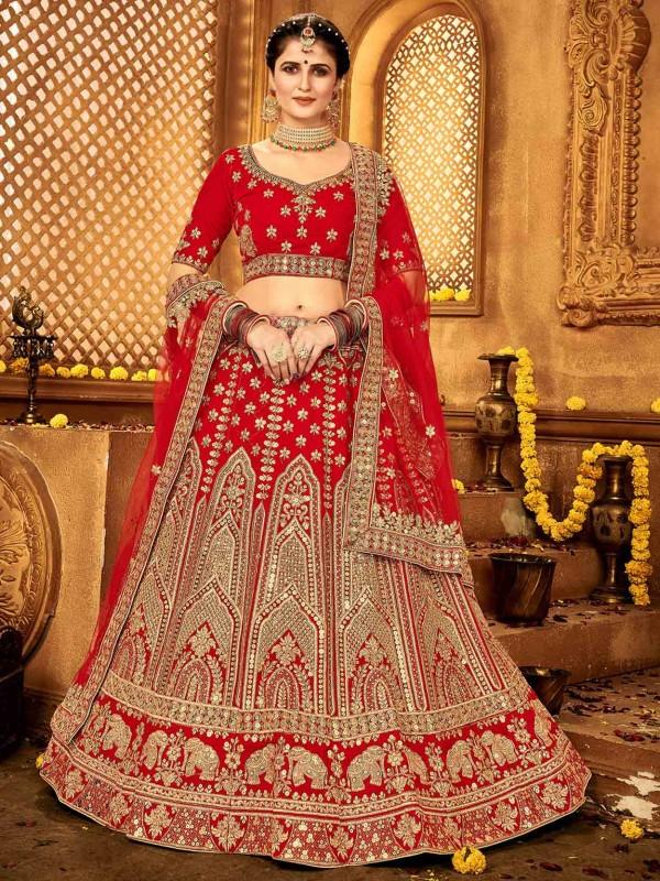Red Colour Velvet Designer Lehenga Choli.