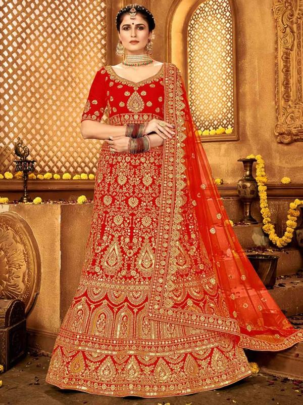 Indian Wedding Lehenga Choli in Red Colour in Velvet Fabric.