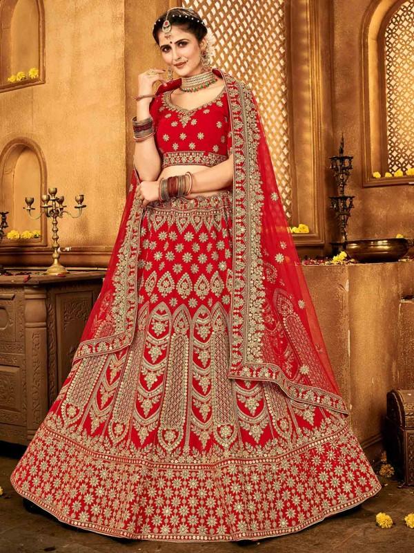 Red Colour Indian Designer Lehenga Choli.